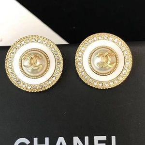 Chanel crystal  button studs